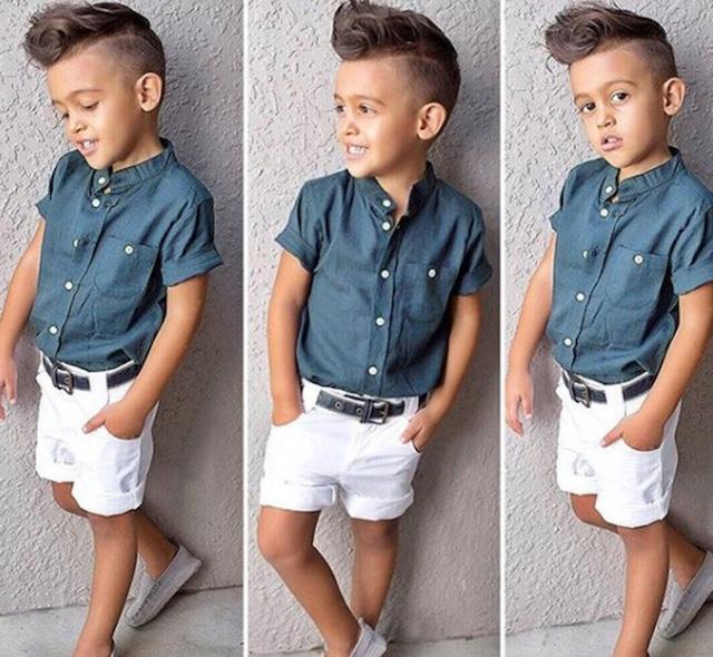 ベビー 男の子 シャツ×白パンツ
